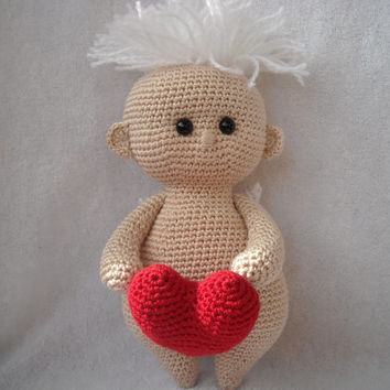 Made to order / Mothers Day Angel with a red heart. Doll handmade. Amigurumi crochet