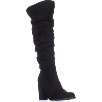 madden girl Cinder Knee-High Slouch Boots, Black Fabric, 10 US