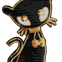 XXL Extra Large Stunning Black Sequin Kitty Cat Patch 21cm Applique