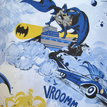 Batman Robin DC Comic Super Hero Pottery Barn Bedding Flat Sheet Twin Size Bed Boy Kid Pure Cotton Craft Fabric Material Gently Used Clean