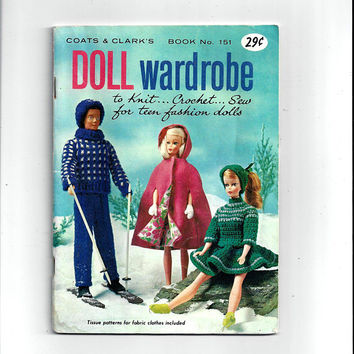 1964 Vintage Coats & Clark's High Fashion Wardrobe Book for Teen Age 11 In. Dolls, Sewing, Crochet, Knit, 36 Pages, UNCUT Pattern, Vintage