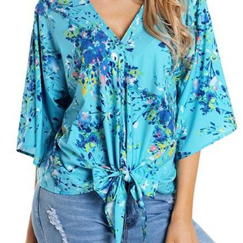 Casual Turquoise Flowerlet Print Tie Front Kimono Sleeve Blouse