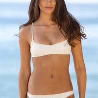 The Girl and The Water - Posh Pua 2014 - Hala Bikini Top White Sand - $76