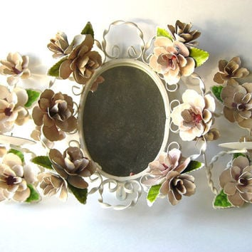 Italian Tole Hand Painted Mirror and Candle Set / Vintage Home Decor / Shabby Chic Decor
