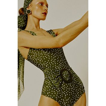 Hoop One Piece Swimsuit - Green Dot Print