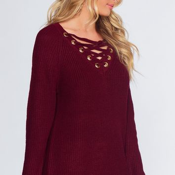 Elsa Lace Up Sweater - Burgundy