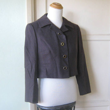 Chic Midcentury Brown Wool Cropped Jacket by Ben Reig - Vintage Garfinckel's Chocolate Brown Wool Jacket; Small-Medium