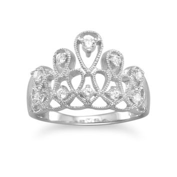 Sterling Silver Swirling Crown Princess Tiara Ring