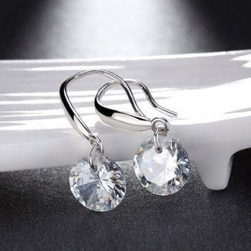 925 Sterling Silver Plated Dangling Drop Earrings Naked 8mm AAA Cubic Zirconia