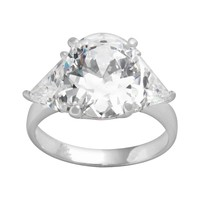 Sterling Silver Cubic Zirconia 3-Stone Ring (Stone/Silver)