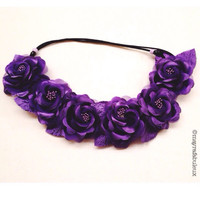 The Ariel Purple Roses Flower Crown, Flower Headband, Flower Halo