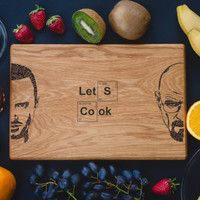 Breaking Bad Personalized Cutting Board , Let's Cook, Kitchen Heisenberg Engraved, Walter White, Custom Engraved.