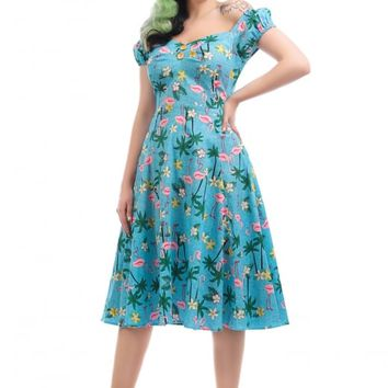 COLLECTIF MAINLINE DOLORES TROPICAL FLAMINGO DOLL DRESS