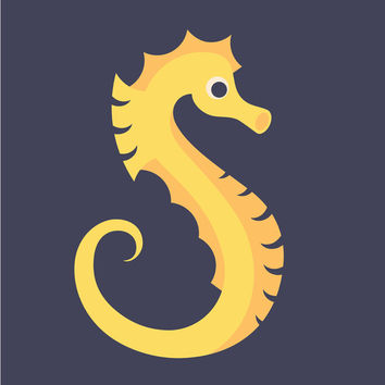 Letter S // Animal Alphabet // Seahorse Canvas Print by Jen Montgomery