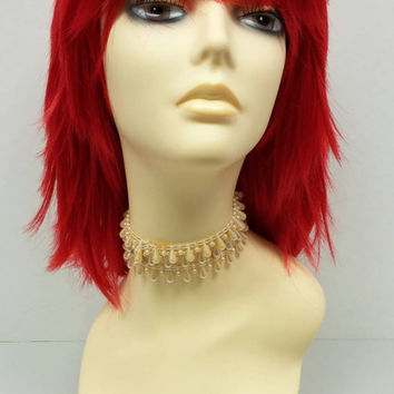 12 inch Red Shag Style Wig. Straight and Layered w/ Bangs. Anime Cosplay Wig. [12-82-Cosmic-Red]