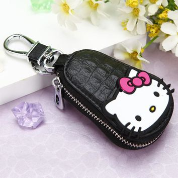 New Cowhide Leather Car Key Wallets Woman Key Holder Girl Hello Kitty Design Keychain Covers Zipper Key Chains Bag Pouch Purse