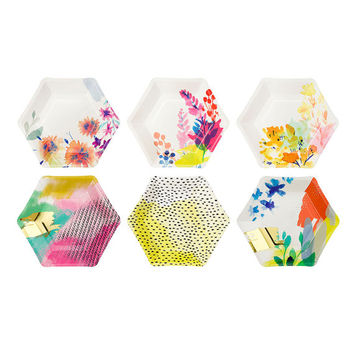 12 modern and trendy Hexagonal shaped, Fluorescent Floral and Metallic Gold Paper Plates.