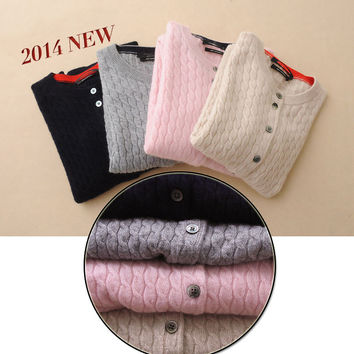 Spring The latest fashion Cashmere Wool Cardigan Blend Knitted Female Sweaters  Style Fashion Outwear Free Shipping