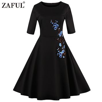 ZAFUL Women plus size Vintage Dress Audrey hepburn 50s Embroidered robe Black feminino Ball Gown Party Retro Dresses Vestidos