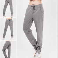 Women's Casual Style Fleece Sweatpants Straight Sports Harem Hip-Hop Pants