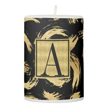 Glam Gold Brush Strokes Monogrammed Pillar Candle