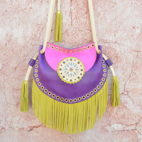 Fringe Leather Bag,Ethnic Leather Bag,Boho Fringe Bag,Cossbody Leather Bag,Gypsy Purse,Mandala Bag,Messenger Bag//Fuchsia, Purple, Yellow