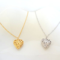 Gold Heart Necklace, Filigree Necklace, Silver Heart Necklace, Valentine's Day, Gift For Her, Filigree Heart