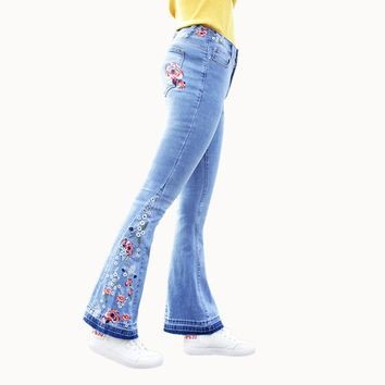 Vintage floral embroidered bell bottom jeans ~ Plus size available