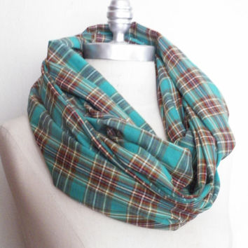 Infinity Scarf, Teal Green Plaid Loop Scarf, Mobius Scarf, Fashion Scarf, Fall Essentials