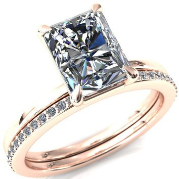 Cynthia Radiant Moissanite 4 Claw Prong Solitaire Ring