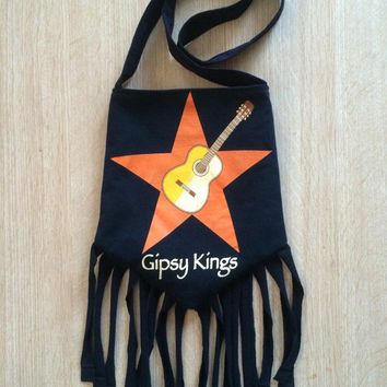GIPSY KINGS - Upcycled Rock T-Shirt Fringe Purse - ooaK