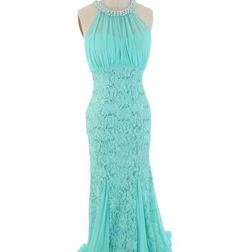 Aqua Sequined Chiffon and Lace Cutaway Shoulder Gown