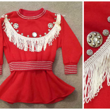 Adorable Vintage Western Dress, Cowgirl Dress, Little Girls Western Dress, Made in the USA