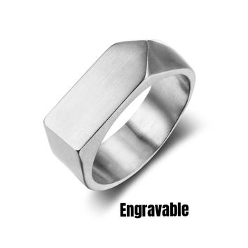 Men's Personalized Engravable Stainless Steel Signet Ring