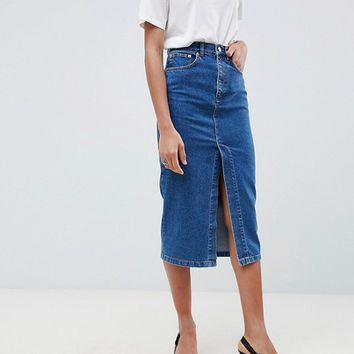 a0bf477d24 ASOS DESIGN denim midi skirt with split front in midwash blue at asos.com