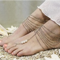 BF16 Grecian Goddess Silver barefoot sandals-barefoot sandals, wedding shoes, anklets for women,barefoot sandal, footless sandles, beach wedding sandal, slave sandals, bridal barefoot sandals, wedding barefoot sandals,foot jewelry, pearl barefoot sandals,