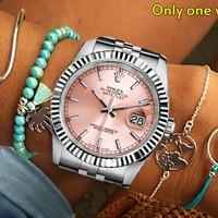 Rolex new tide brand simple wild personality men and women models quartz watch pink