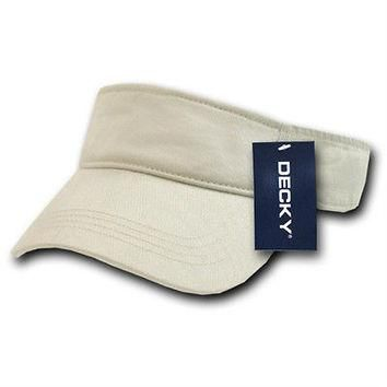 Cotton Chino Twill Visor for Golfers Tennis Polo Cap Hat- Color Stone-Decky #962