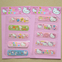 5pcs Set Cute Hello KT Waterproof Band-Aid Bandage Sticker Baby Kids Care First Band Aid Travel Camping Medical Emergency Kit