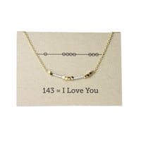 "Friendship 143 ""I love you"" Seed Bead  Necklace - Silver"