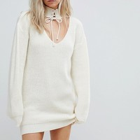 Glamorous Petite Relaxed Jumper Dress With Cut Out Collar And Tie Cuffs at asos.com