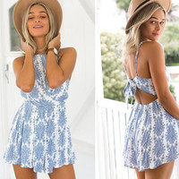 CUTE BLUE PRINT BACKLESS BOW ROMPER