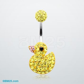 Cute Rubber Duck Tiffany Inspired Belly Button Ring