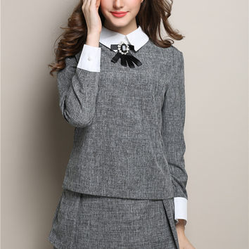 Pointed Flat Collar Long Sleeve Top with Mini A-line Skirt Shorts Set