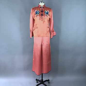 Vintage 1940s Pajamas / 40s Satin PJs / Embroidered Floral Loungewear / Dark Rose Salmon