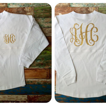 Glitter Monogrammed Spirit Jersey, Monogrammed gifts, Girl's and women's sizes available, Preppy Monogrammed Shirt, Tunic, Spirit Jersey