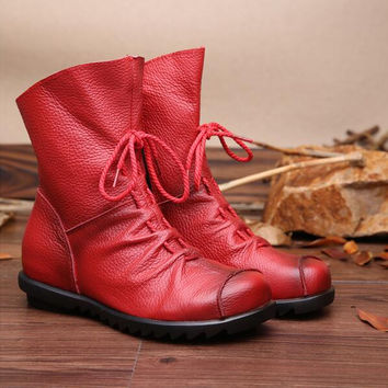 Vintage Style Genuine Leather Women Boots