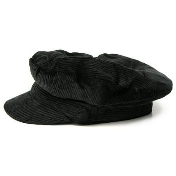 Official The Beatles John Lennon Corduroy Breton Sterkowski style cotton Cap Hat (Large, Black)