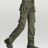 Camouflage Multi Pockets Cargo Pants Thicken Cotton Military Army Tactical Pants Womens Capris Pants