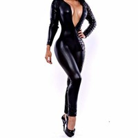 Womens Cool Black Deep V Neck Burn-out Bandage Jumpsuits Romper Catsuit